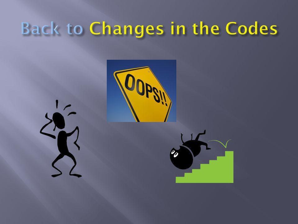 Back to Changes in the Codes