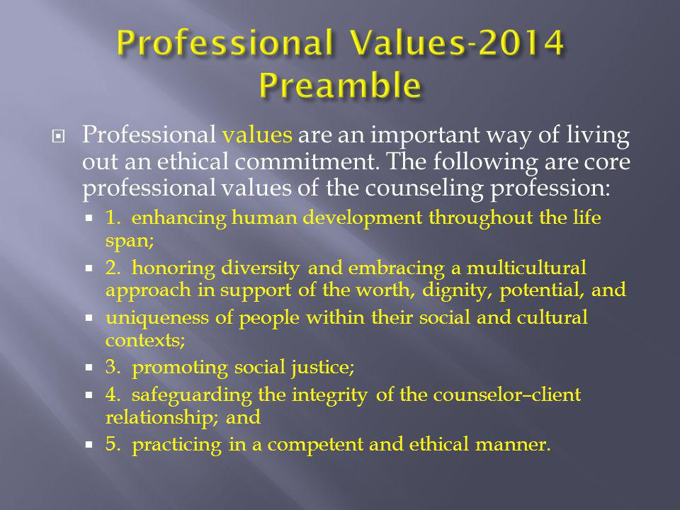 Professional Values-2014 Preamble