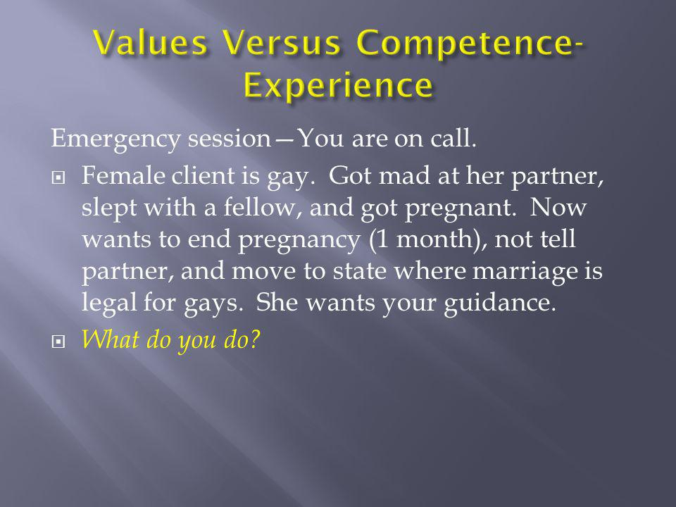 Values Versus Competence-Experience