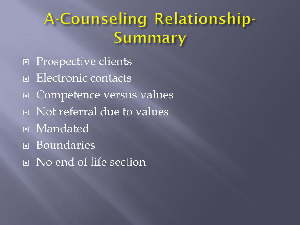 A-Counseling Relationship-Summary