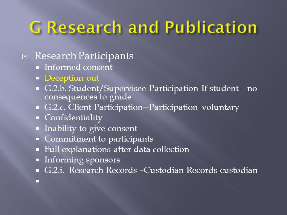 G Research and Publication
