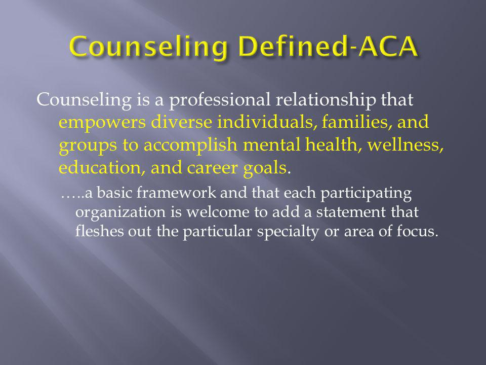 Counseling Defined-ACA