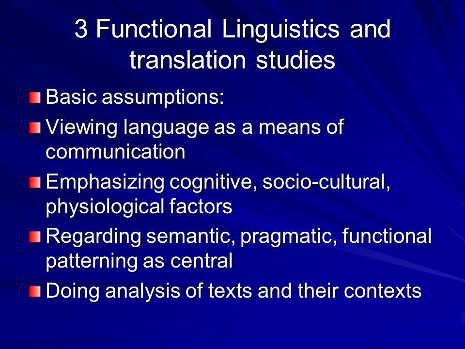 3 Functional Linguistics and translation studies