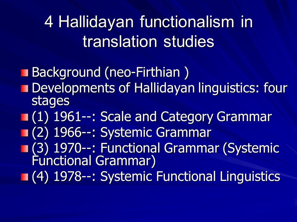 4 Hallidayan functionalism in translation studies