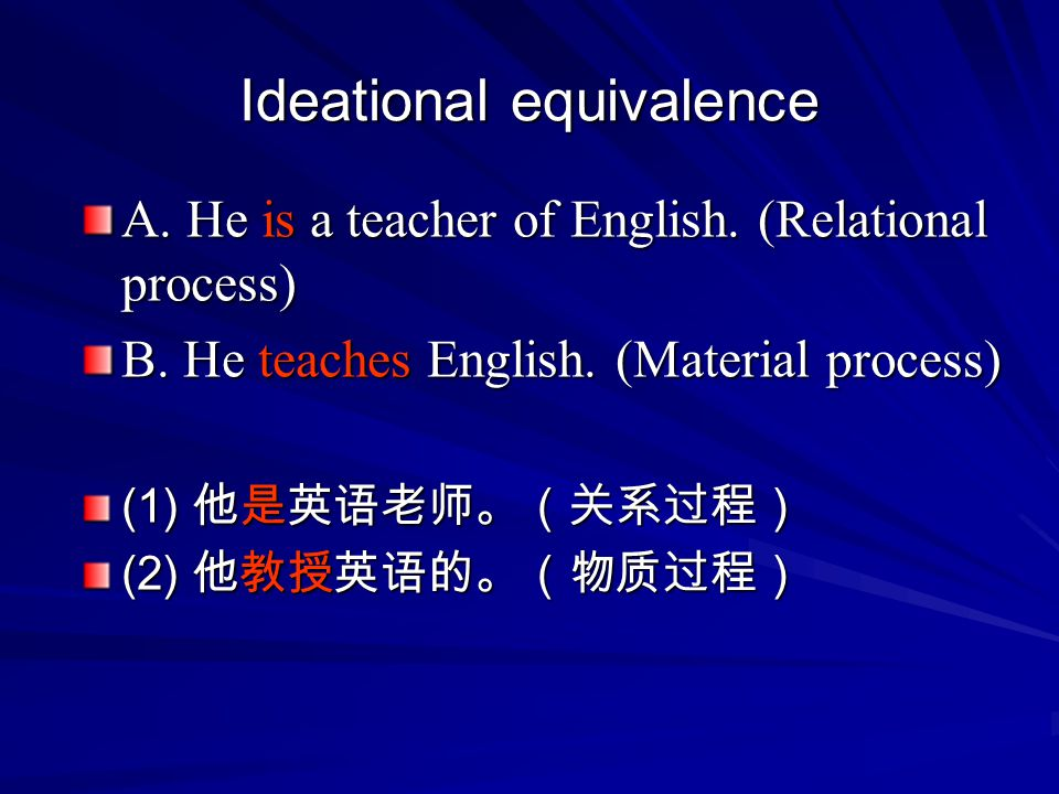 Ideational equivalence
