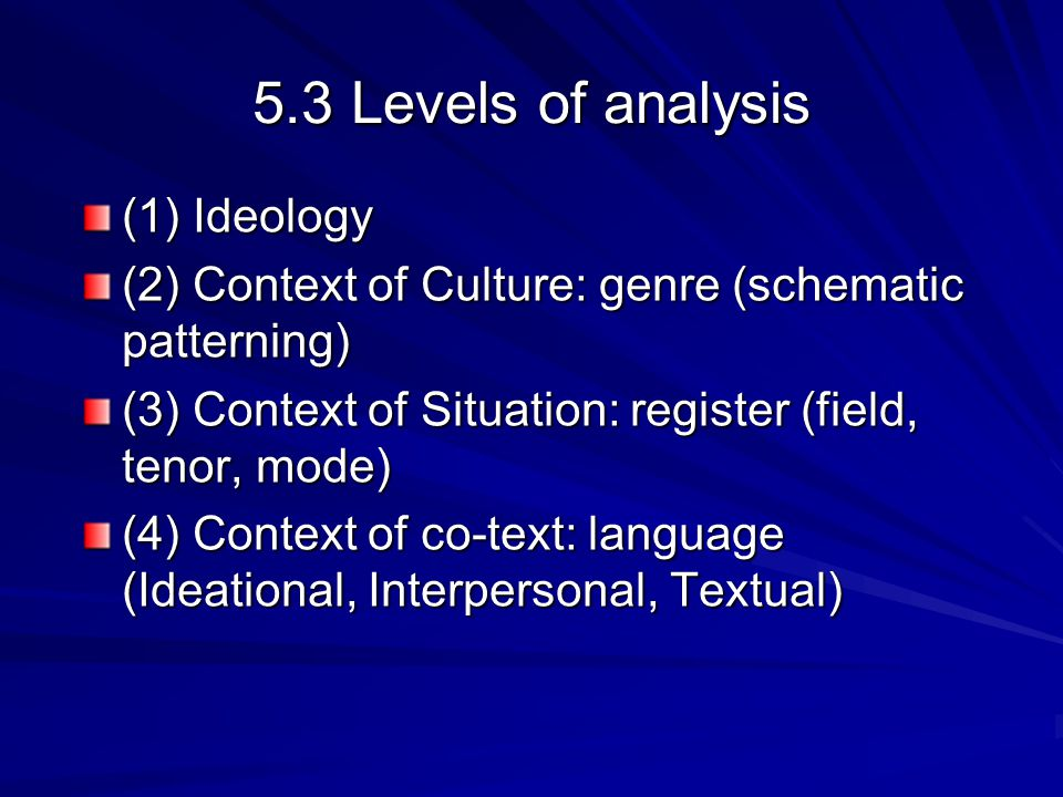 5.3 Levels of analysis (1) Ideology