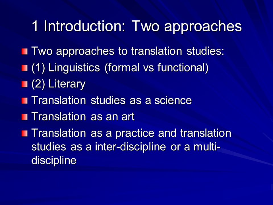 1 Introduction: Two approaches