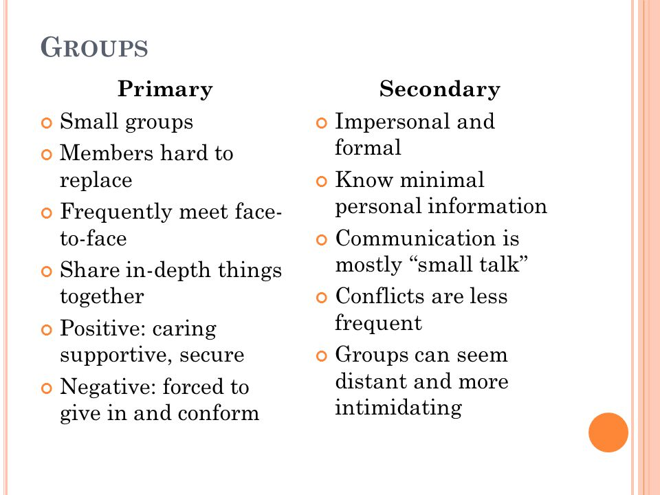 Groups Primary Small groups Members hard to replace