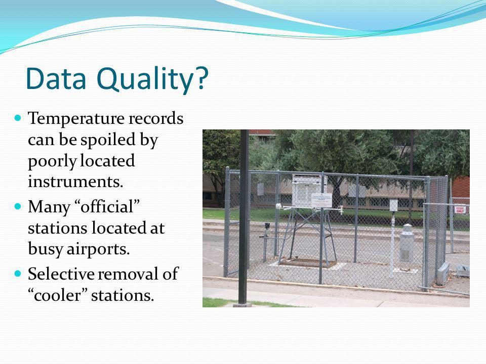 Data Quality Temperature records can be spoiled by poorly located instruments. Many official stations located at busy airports.
