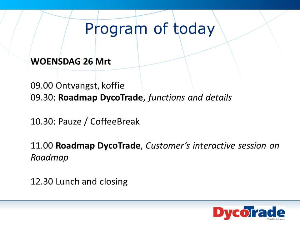 Program of today WOENSDAG 26 Mrt 09.00 Ontvangst, koffie