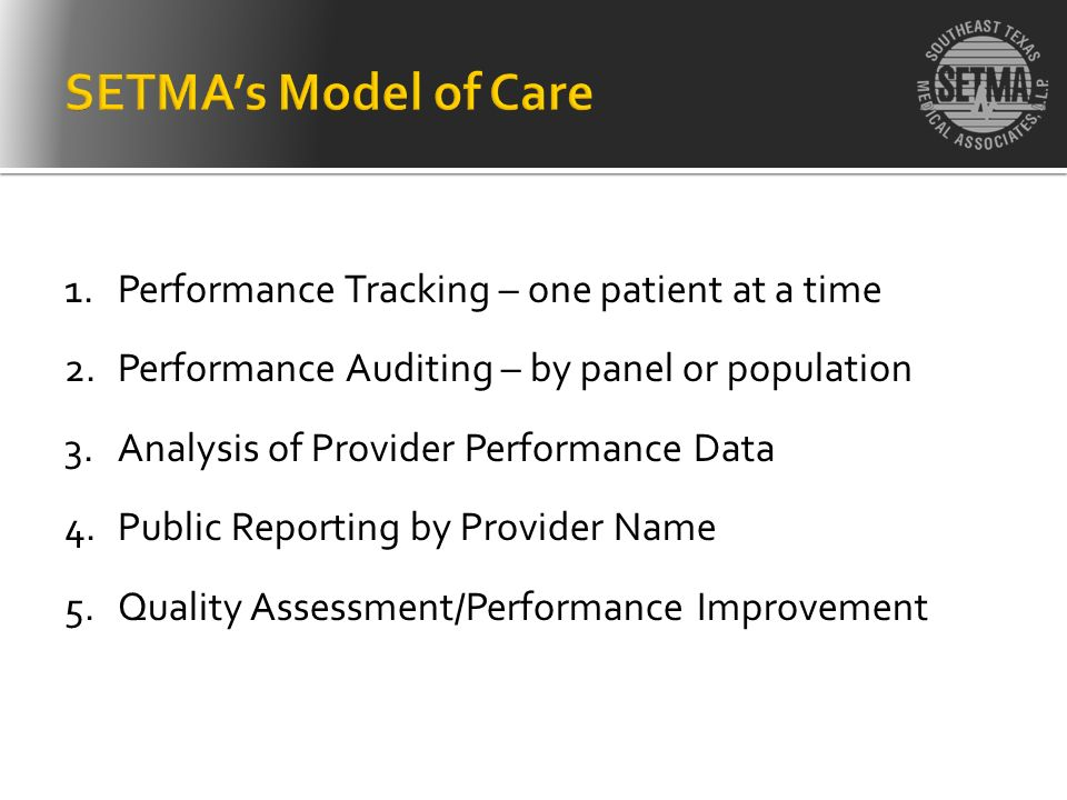 SETMA's Model of Care Performance Tracking – one patient at a time