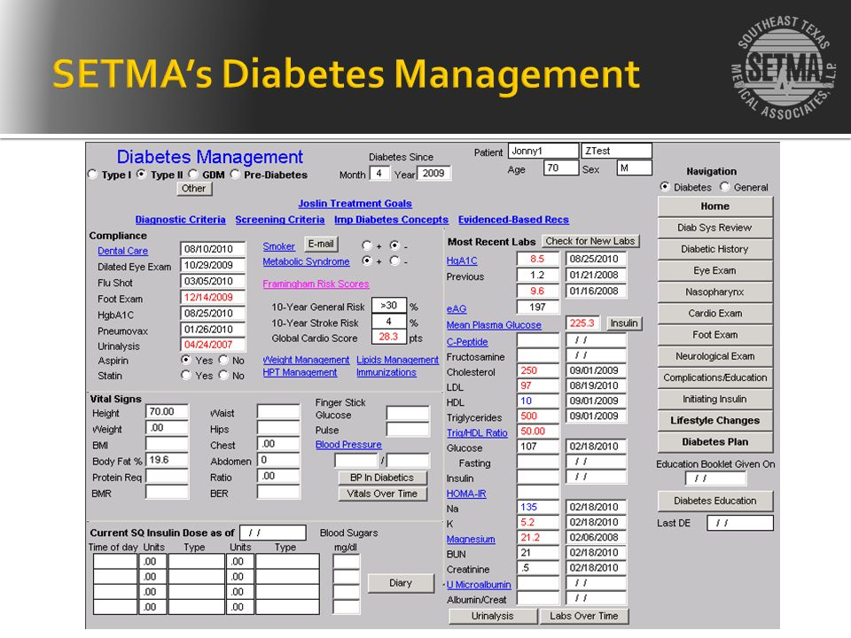SETMA's Diabetes Management