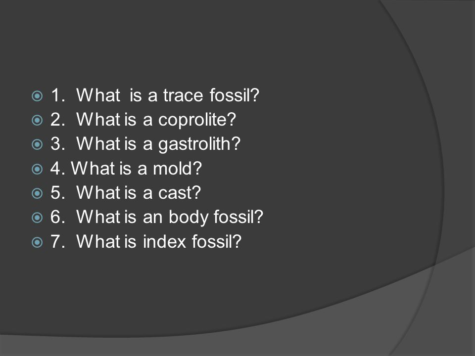 1. What is a trace fossil 2. What is a coprolite 3. What is a gastrolith 4. What is a mold