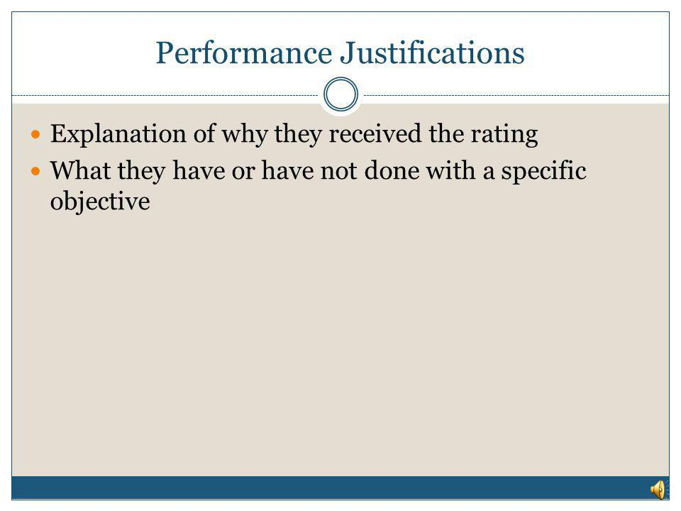 Performance Justifications