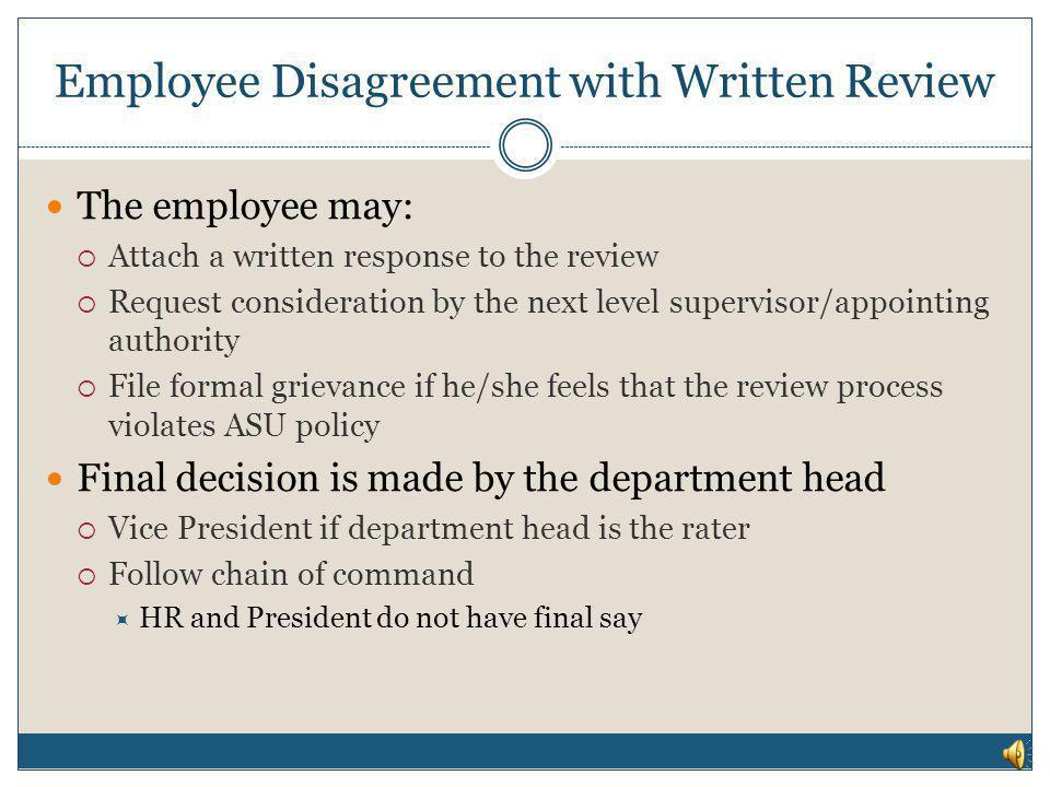 Employee Disagreement with Written Review