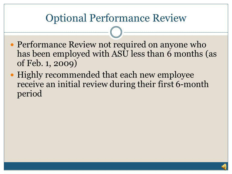 Optional Performance Review