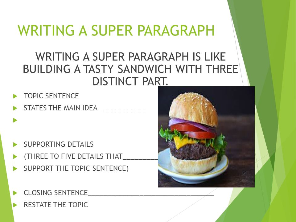 WRITING A SUPER PARAGRAPH