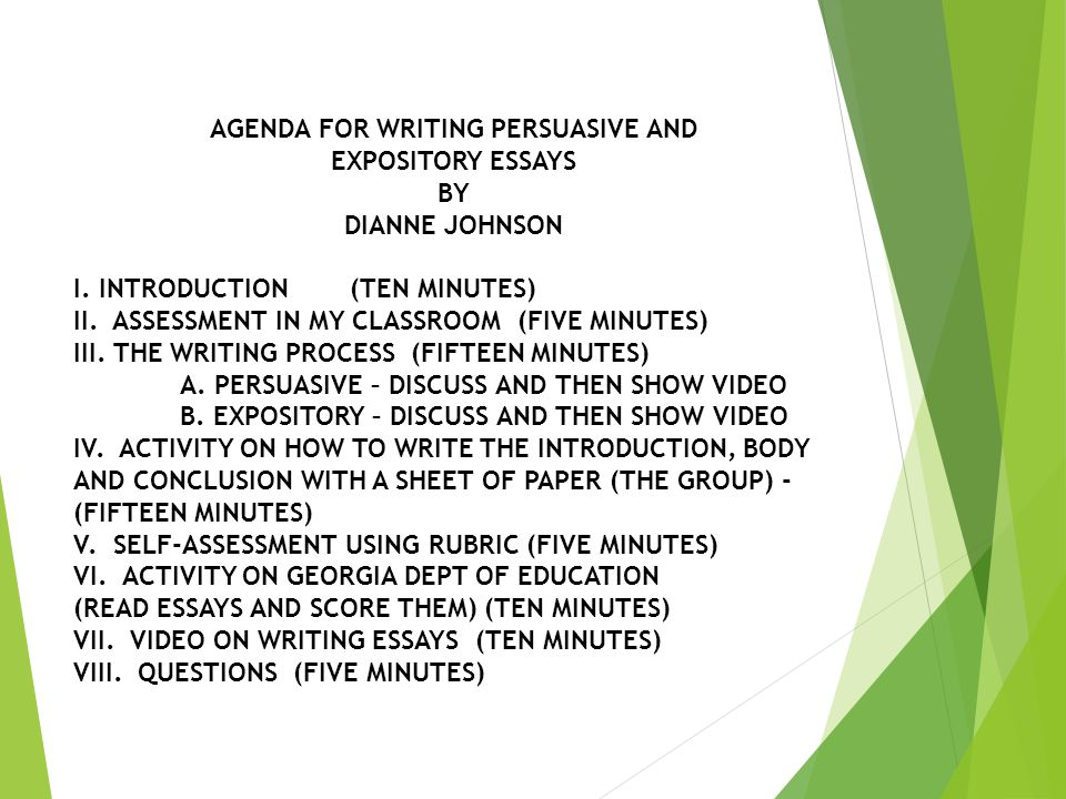 AGENDA FOR WRITING PERSUASIVE AND