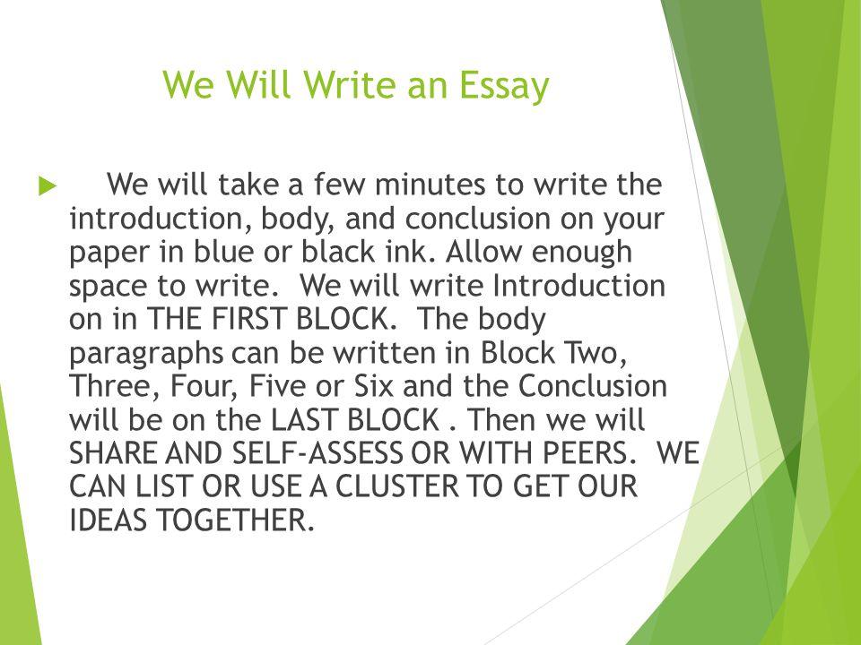 We Will Write an Essay
