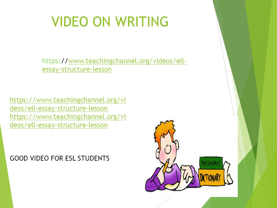 VIDEO ON WRITING https://www.teachingchannel.org/videos/ell-essay-structure-lesson.