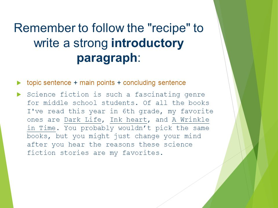 Remember to follow the recipe to write a strong introductory paragraph: