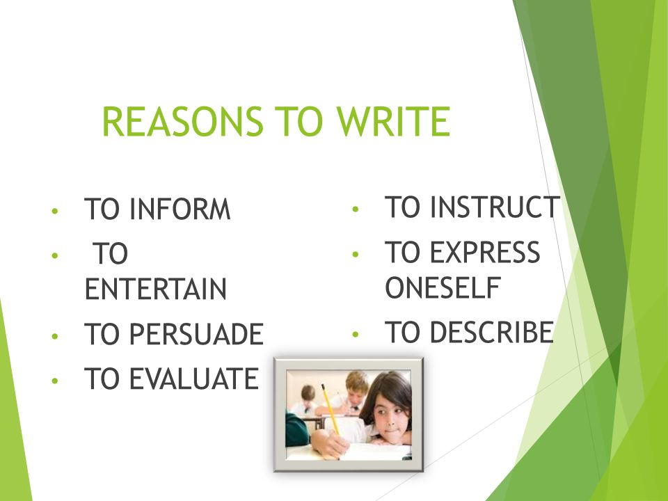 REASONS TO WRITE TO INSTRUCT TO INFORM TO EXPRESS ONESELF TO ENTERTAIN
