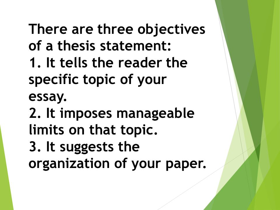 3 objectives of a thesis statement Prewriting is everything you do before you begin to draft the paper thesis statement: at the end of your introduction, write a one-sentence statement.