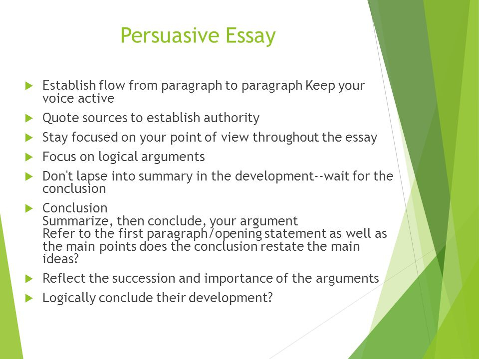 conclusion for a persuasive essay Writing conclusions to argumentative essays conclusions are just as important as introductions the conclusion closes the essay and tries to close the issue the aim.