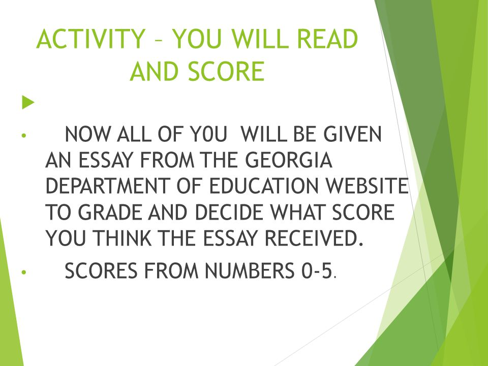 ACTIVITY – YOU WILL READ AND SCORE