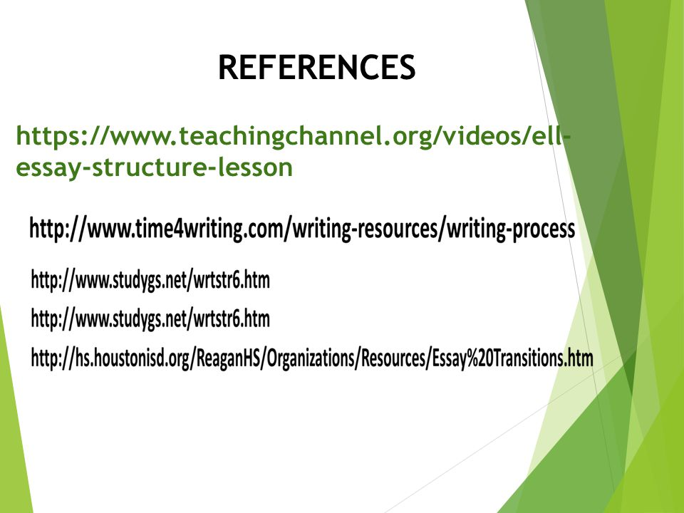 REFERENCES https://www.teachingchannel.org/videos/ell-essay-structure-lesson