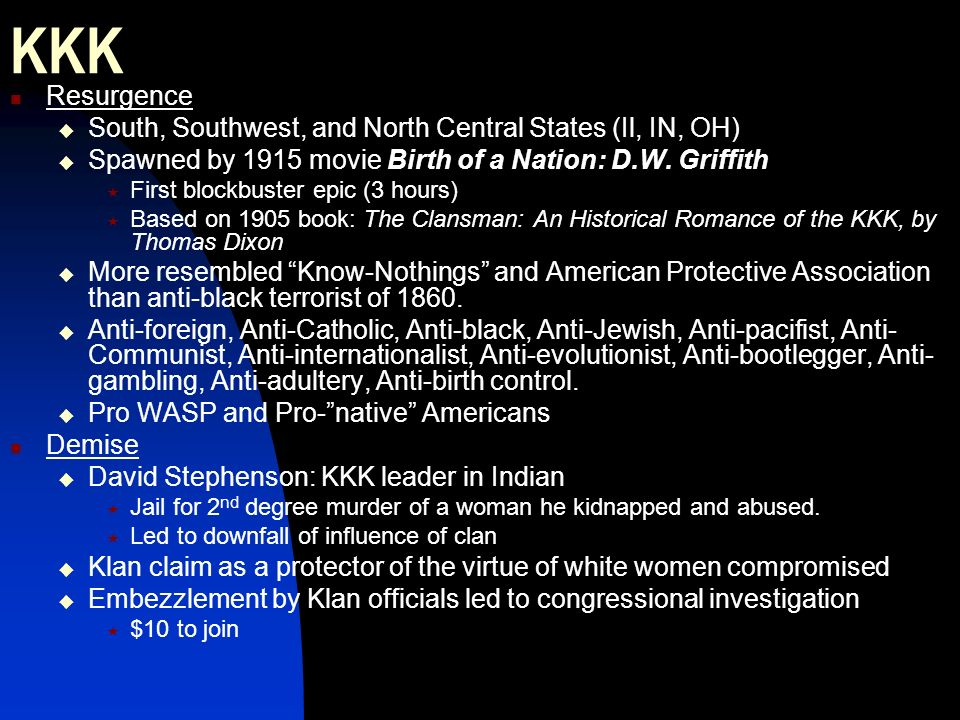 KKK Resurgence South, Southwest, and North Central States (Il, IN, OH)