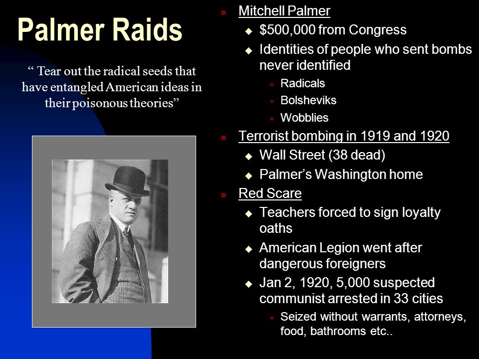 Palmer Raids Mitchell Palmer $500,000 from Congress
