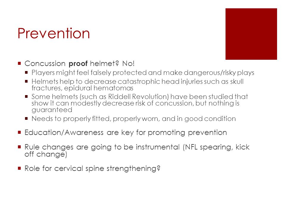Prevention Concussion proof helmet No!