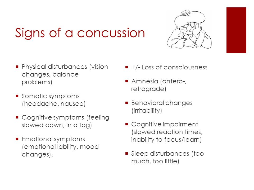Signs of a concussion Physical disturbances (vision changes, balance problems) Somatic symptoms (headache, nausea)