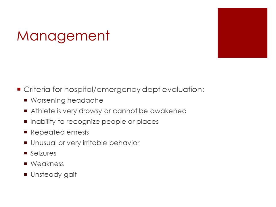 Management Criteria for hospital/emergency dept evaluation: