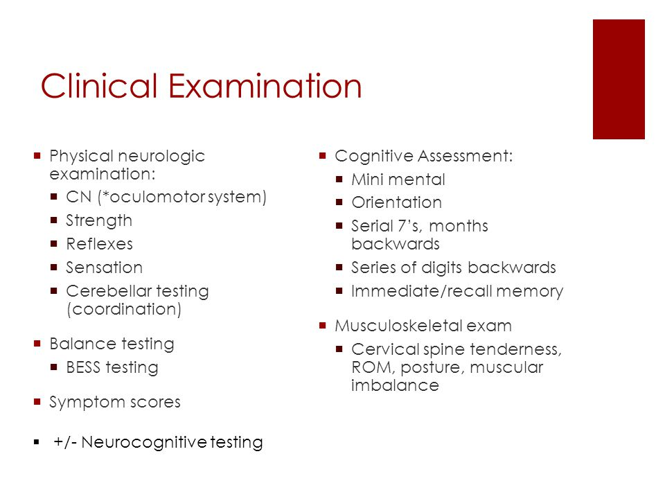 Clinical Examination Physical neurologic examination: