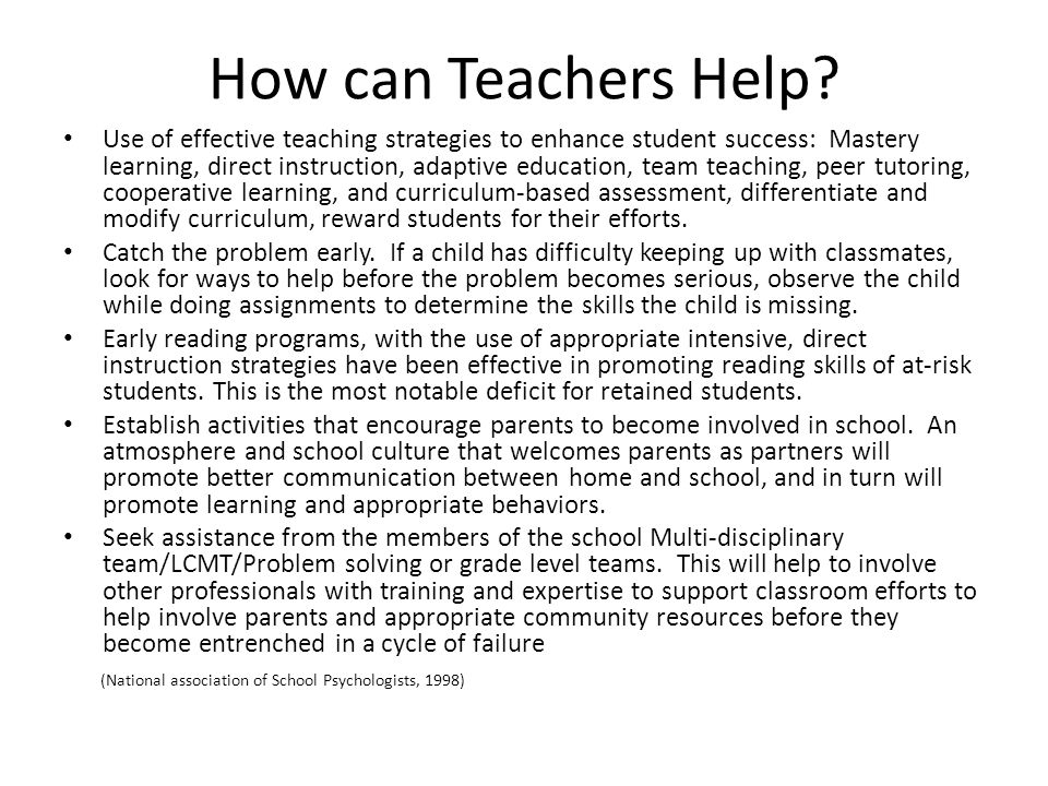 How can Teachers Help