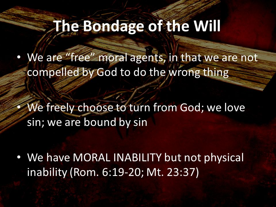 The Bondage of the Will We are free moral agents, in that we are not compelled by God to do the wrong thing.