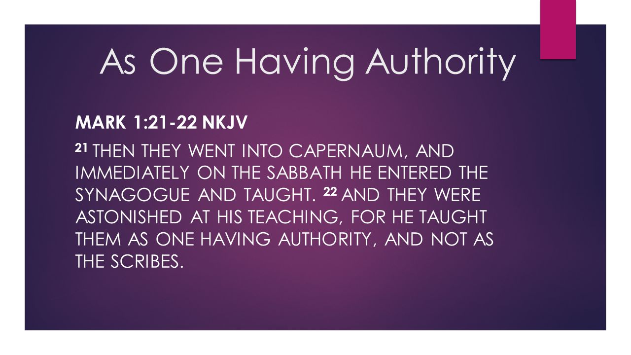 As One Having Authority