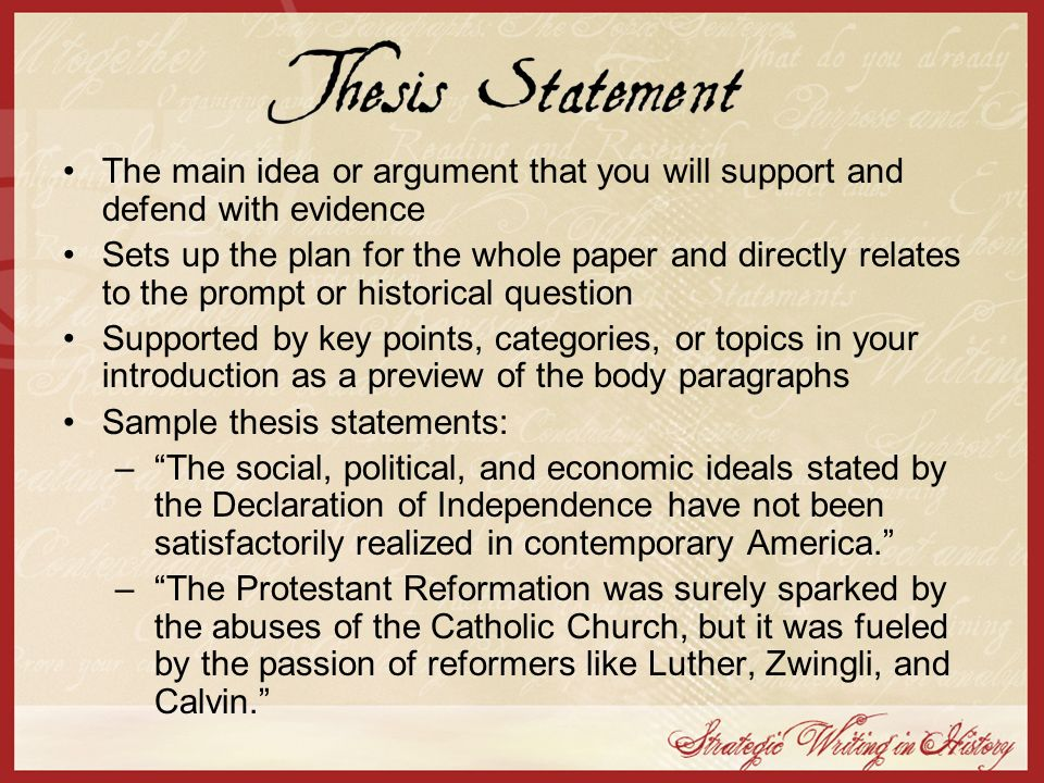 Sample thesis statements: