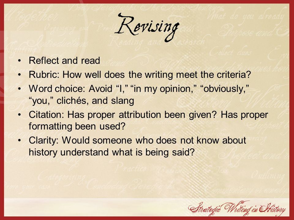 Rubric: How well does the writing meet the criteria