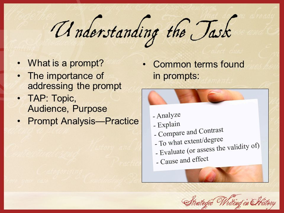 The importance of addressing the prompt TAP: Topic, Audience, Purpose