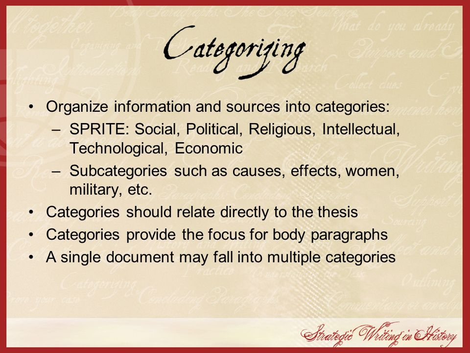 Organize information and sources into categories: