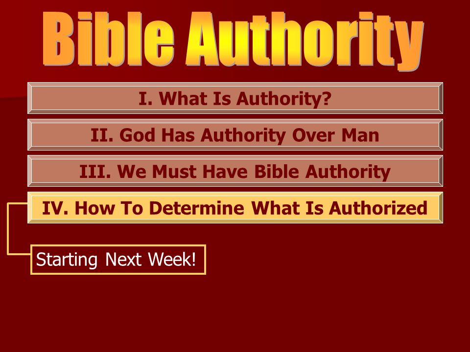 Bible Authority I. What Is Authority II. God Has Authority Over Man