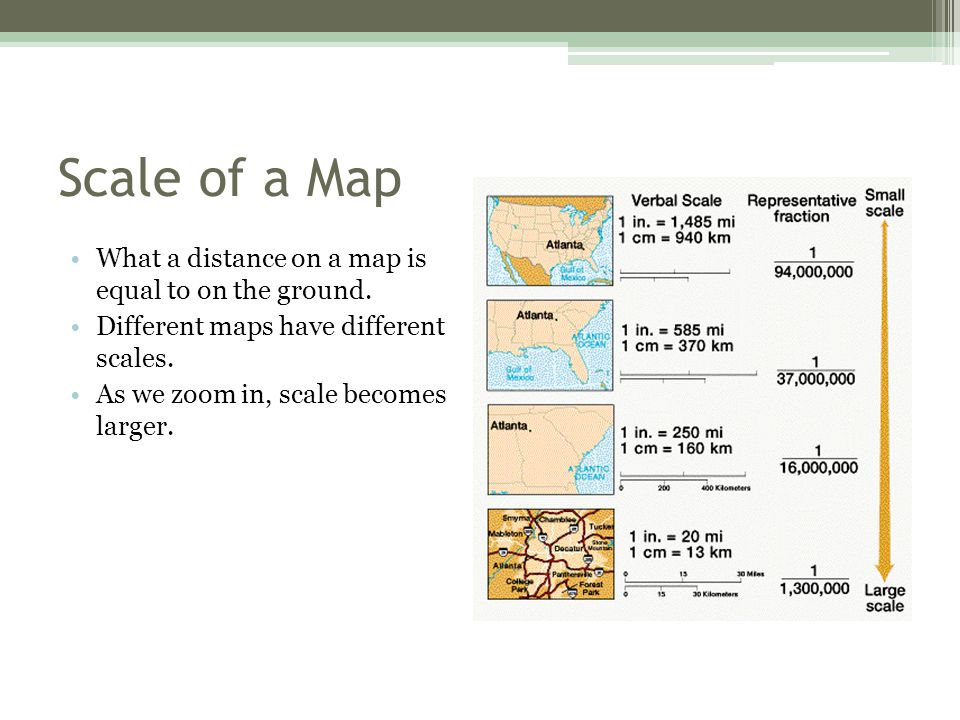 Scale of a Map What a distance on a map is equal to on the ground.