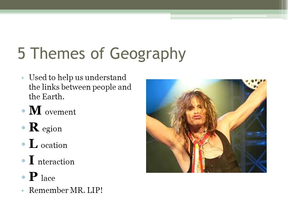 5 Themes of Geography M ovement R egion L ocation I nteraction P lace