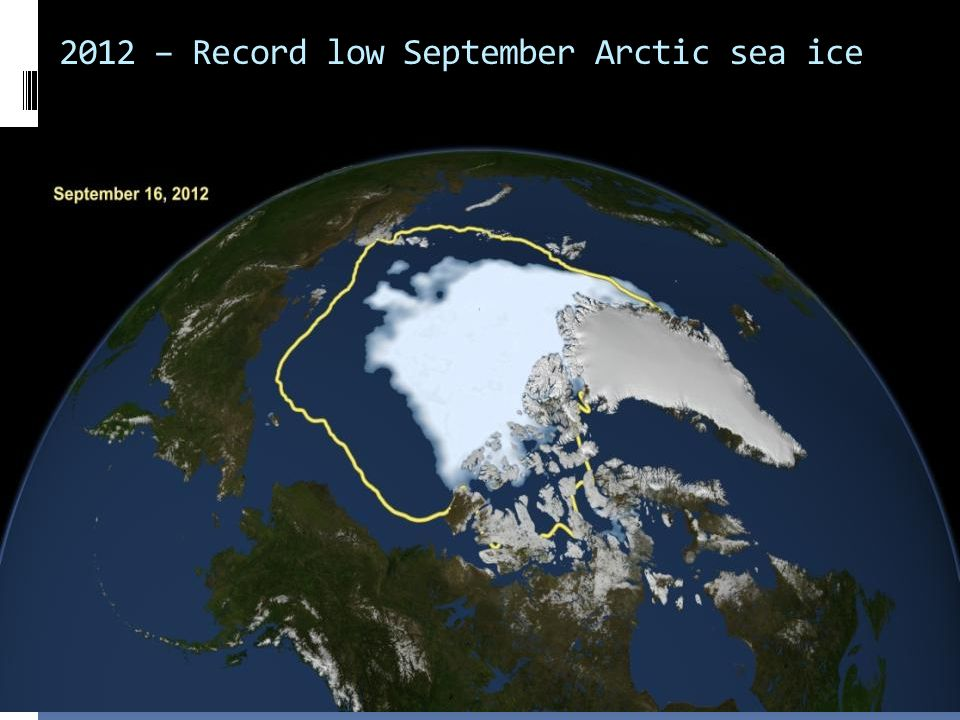 2012 – Record low September Arctic sea ice