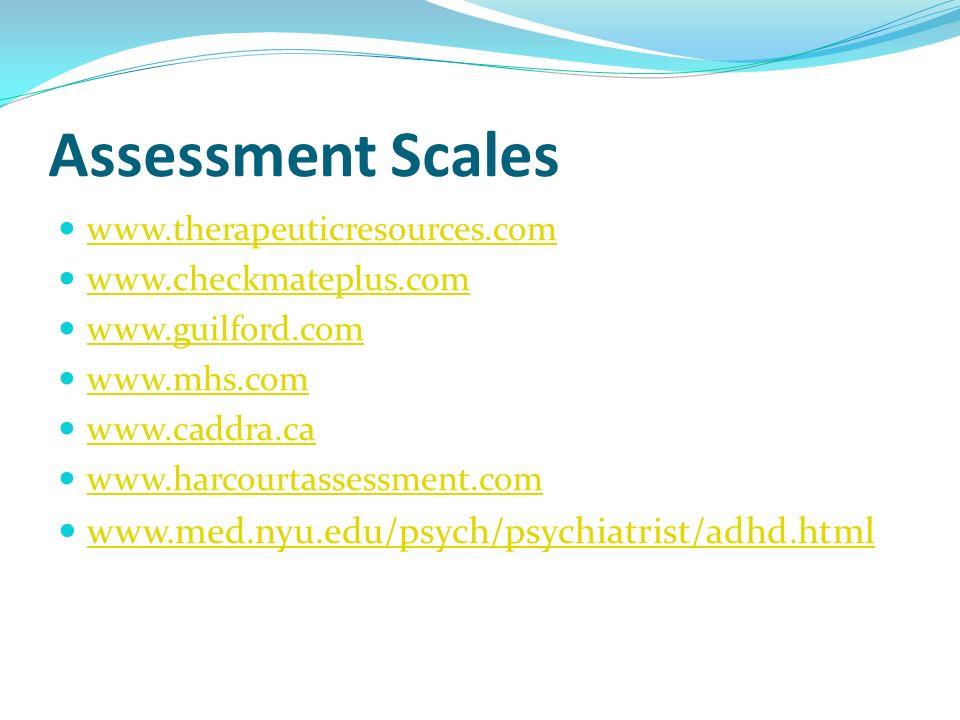Assessment Scales www.med.nyu.edu/psych/psychiatrist/adhd.html