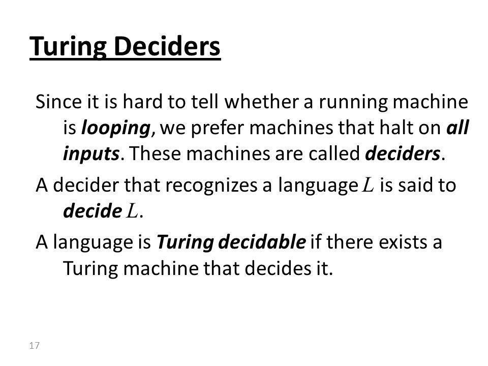 Turing Deciders