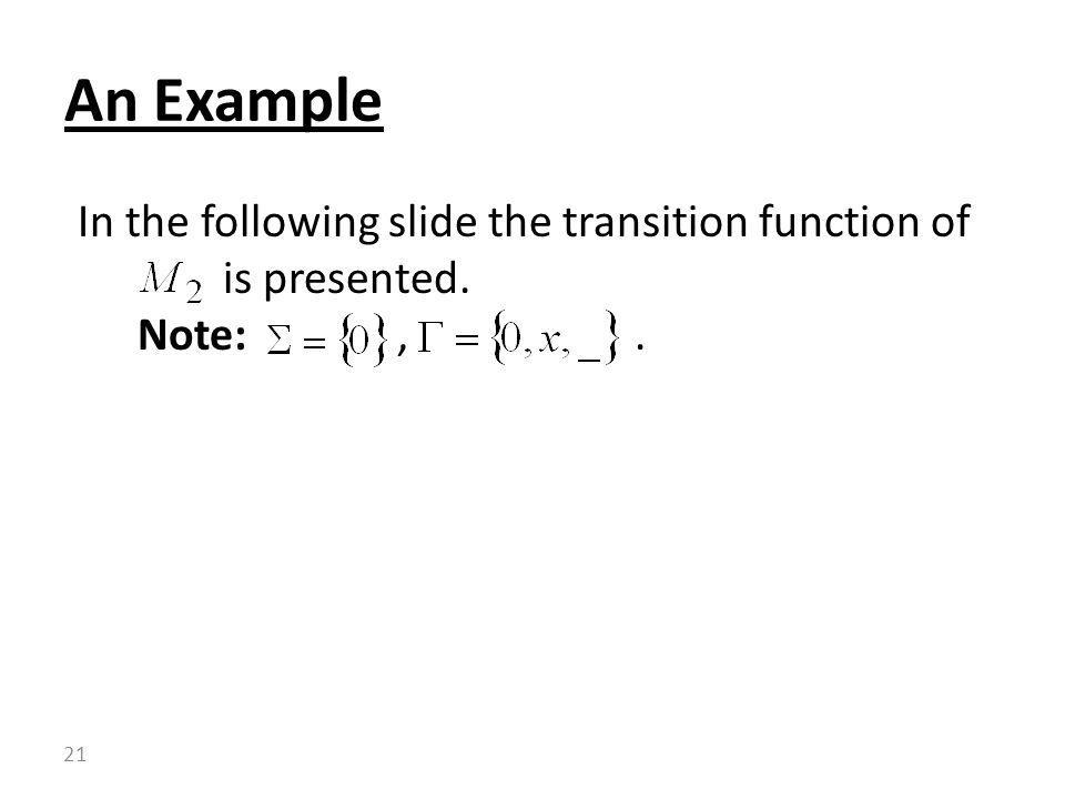 An Example In the following slide the transition function of is presented.